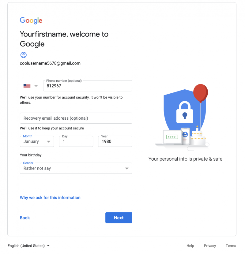 Create Google Account 2