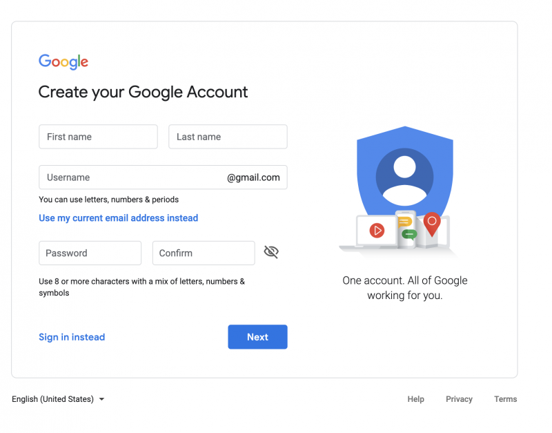 Create Google Account 1